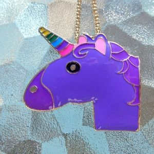 Purple Rainbow Unicorn Emoji Necklace Brooch Pin